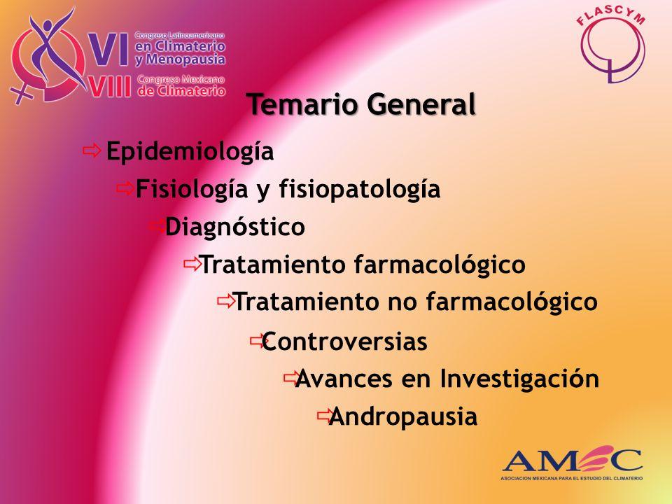 Temario General Epidemiología Fisiología y fisiopatología Diagnóstico