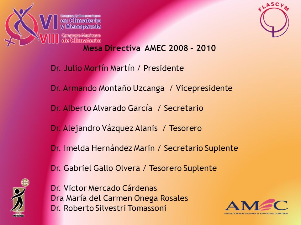 Mesa Directiva AMEC 2008 – 2010 Dr. Julio Morfín Martín / Presidente. Dr. Armando Montaño Uzcanga / Vicepresidente.