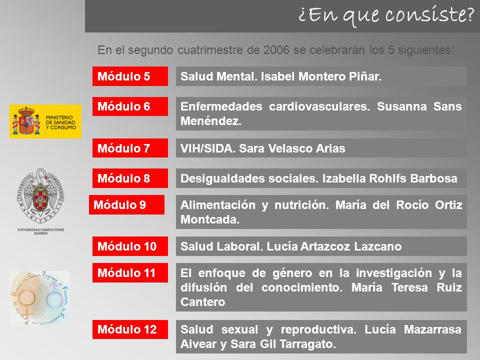 ¿En que consiste En el segundo cuatrimestre de 2006 se celebrarán los 5 siguientes: Módulo 5. Salud Mental. Isabel Montero Piñar.