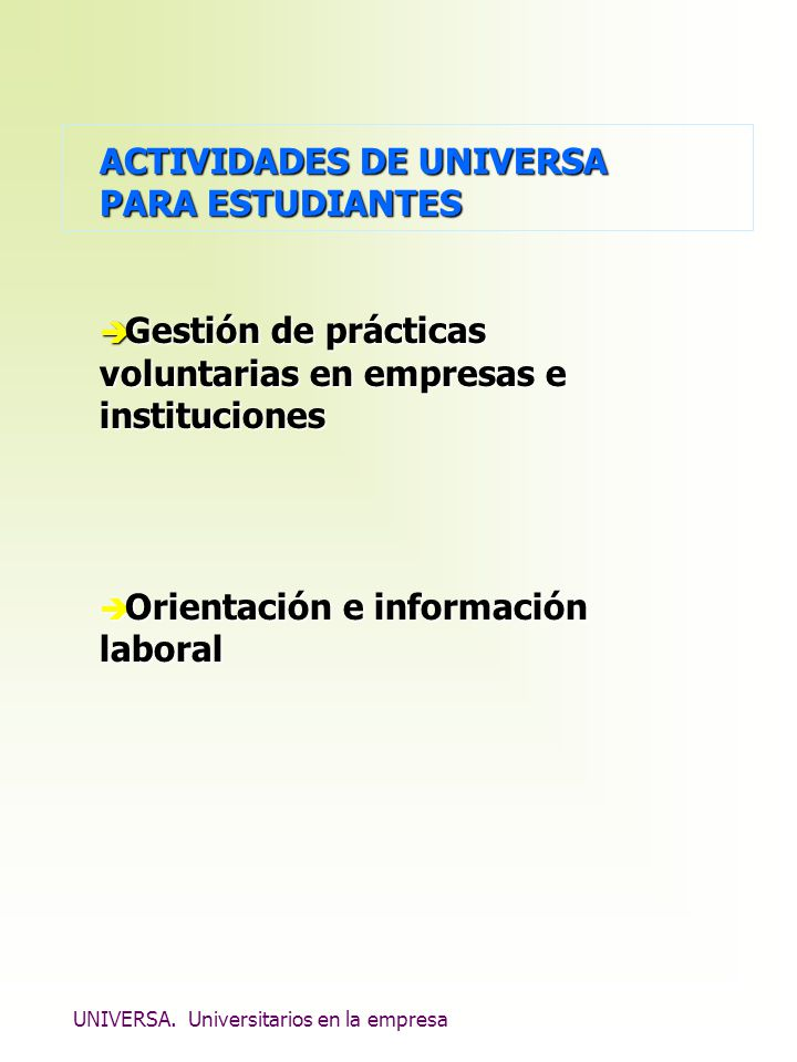 ACTIVIDADES DE UNIVERSA PARA ESTUDIANTES