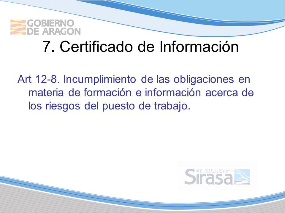 7. Certificado de Información