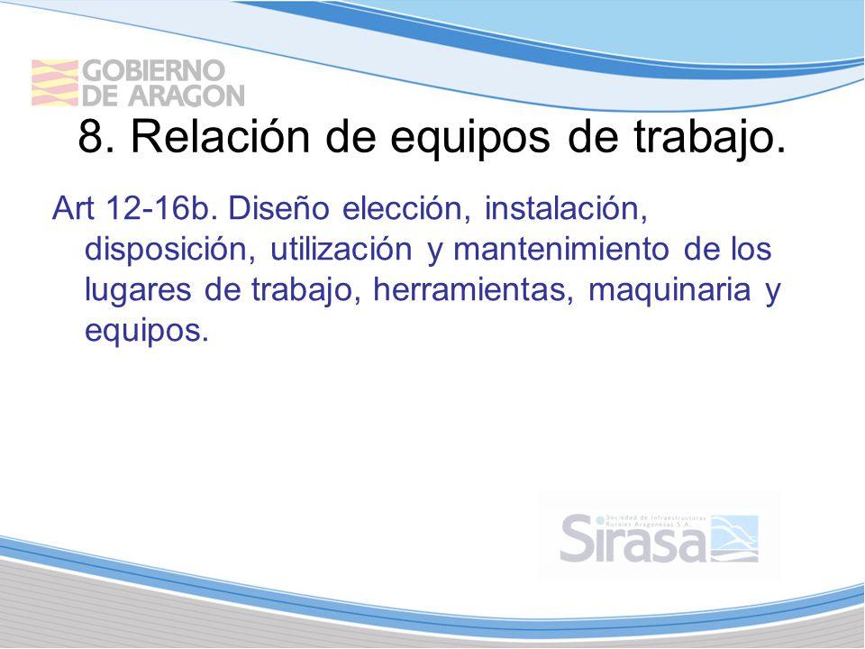 8. Relación de equipos de trabajo.