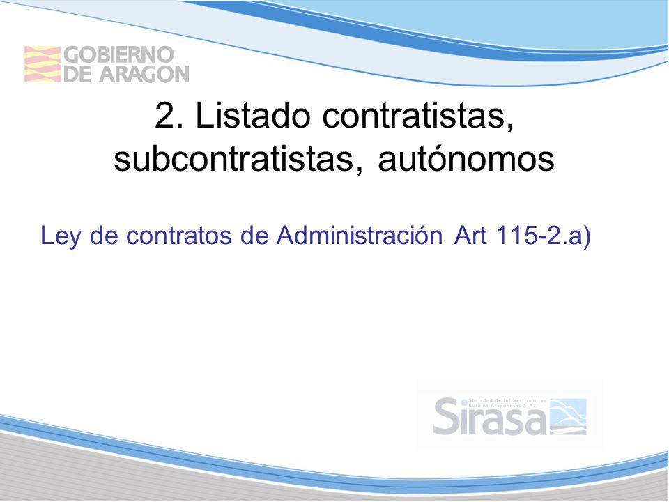 2. Listado contratistas, subcontratistas, autónomos