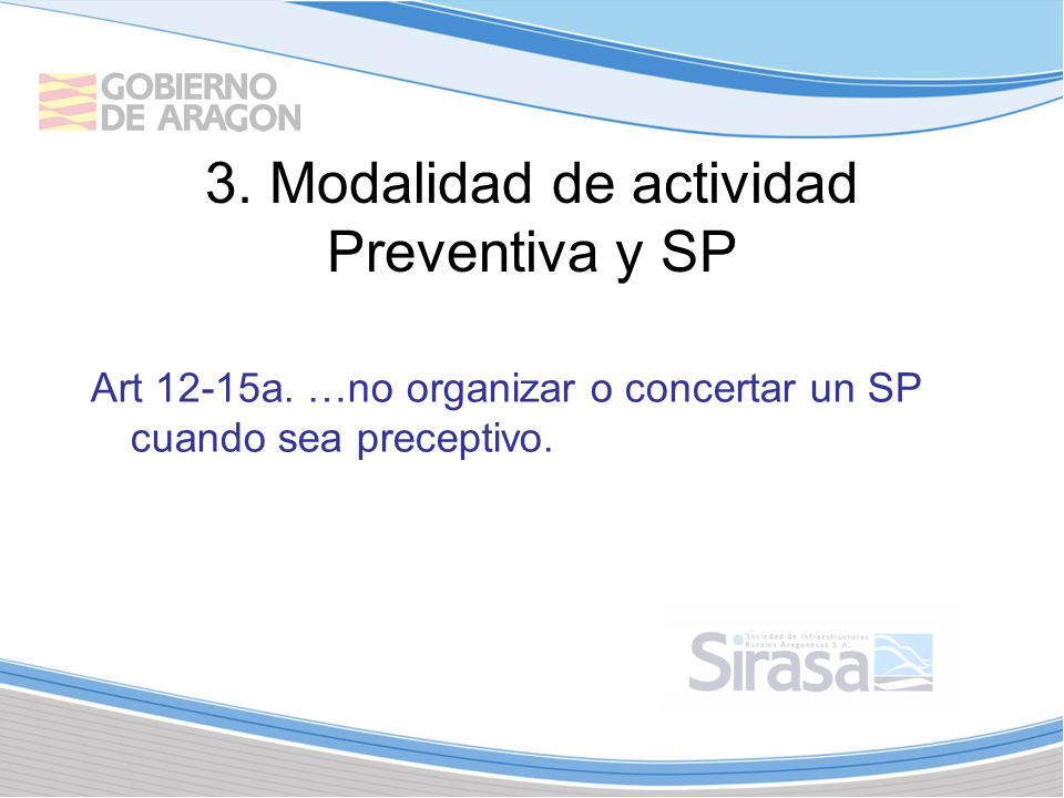 3. Modalidad de actividad Preventiva y SP