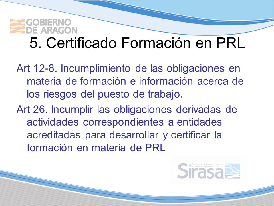 5. Certificado Formación en PRL