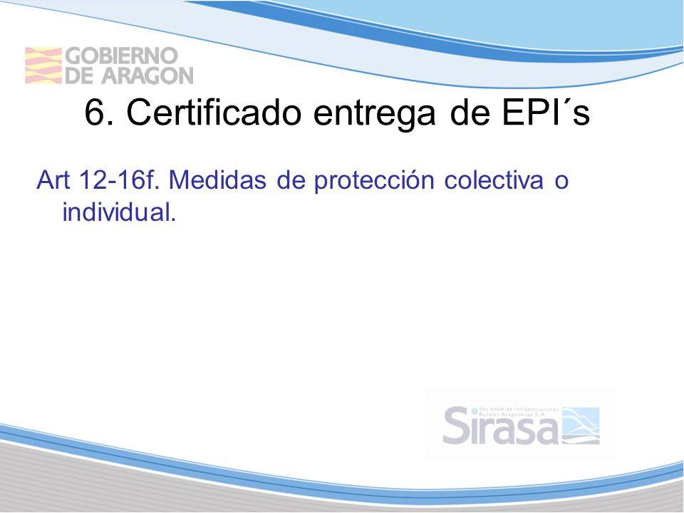 6. Certificado entrega de EPI´s