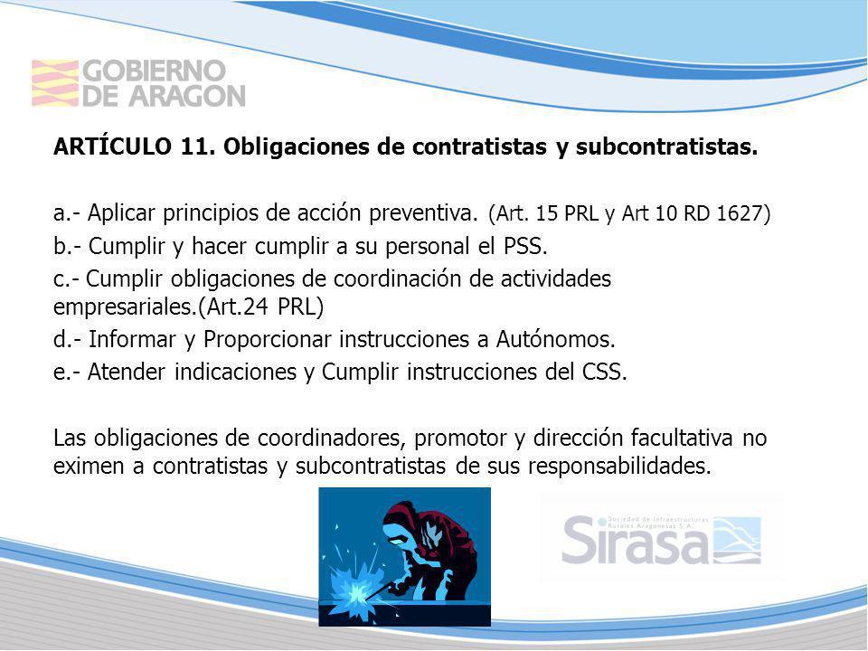 ARTÍCULO 11. Obligaciones de contratistas y subcontratistas.