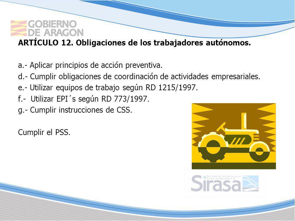 ARTÍCULO 12. Obligaciones de los trabajadores autónomos.