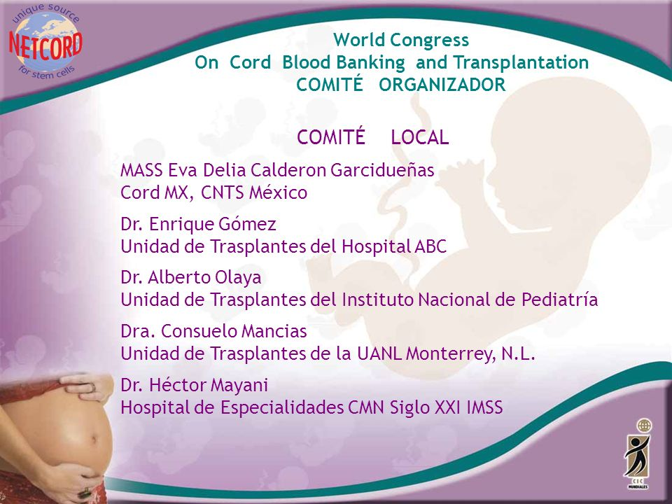 COMITÉ LOCAL World Congress On Cord Blood Banking and Transplantation