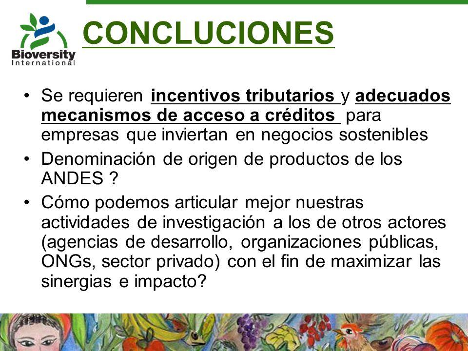 CONCLUCIONES Se requieren incentivos tributarios y adecuados mecanismos de acceso a créditos para empresas que inviertan en negocios sostenibles.