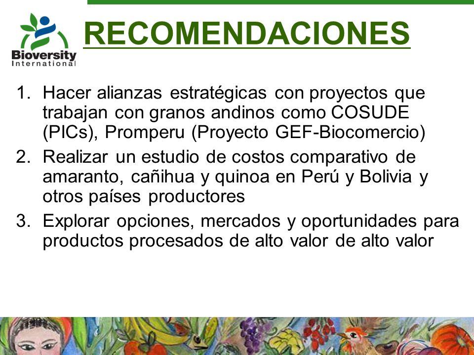 RECOMENDACIONES Hacer alianzas estratégicas con proyectos que trabajan con granos andinos como COSUDE (PICs), Promperu (Proyecto GEF-Biocomercio)