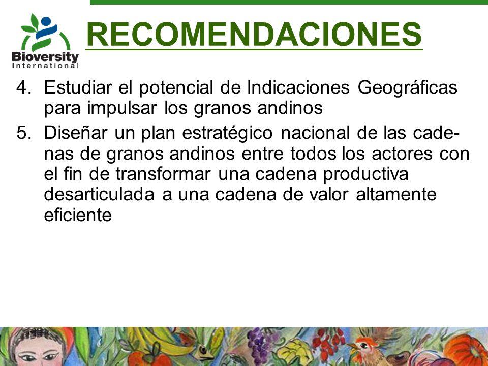 RECOMENDACIONES Estudiar el potencial de Indicaciones Geográficas para impulsar los granos andinos.
