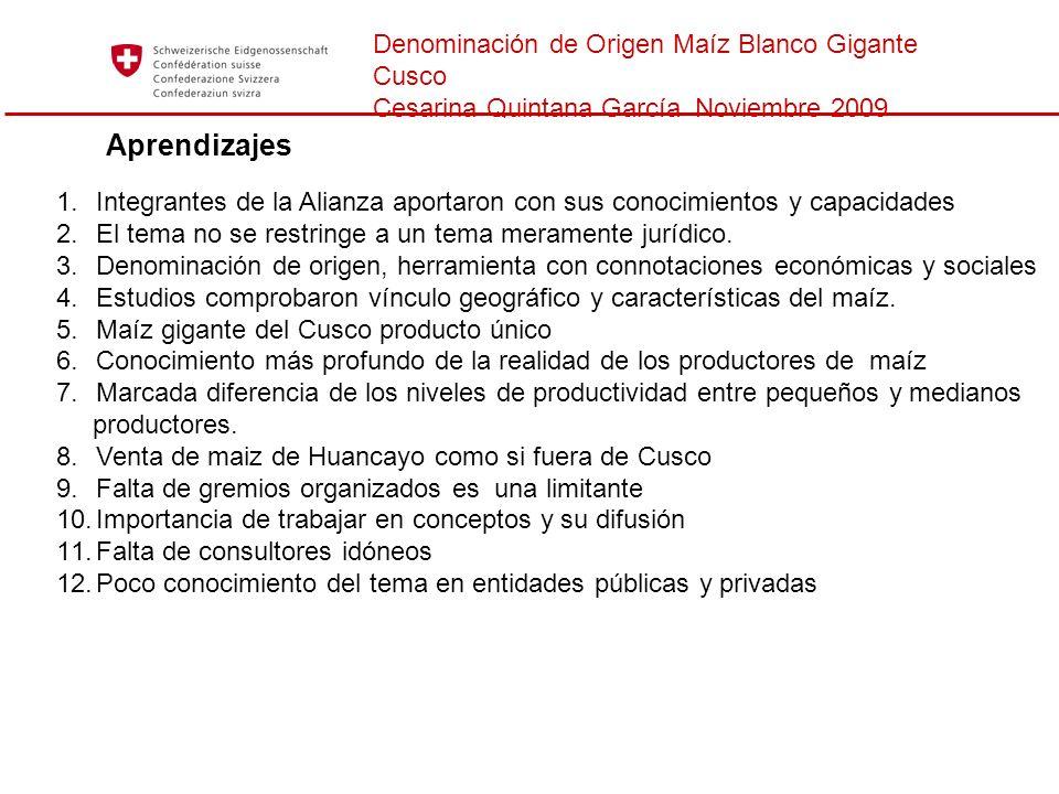 Aprendizajes Denominación de Origen Maíz Blanco Gigante Cusco