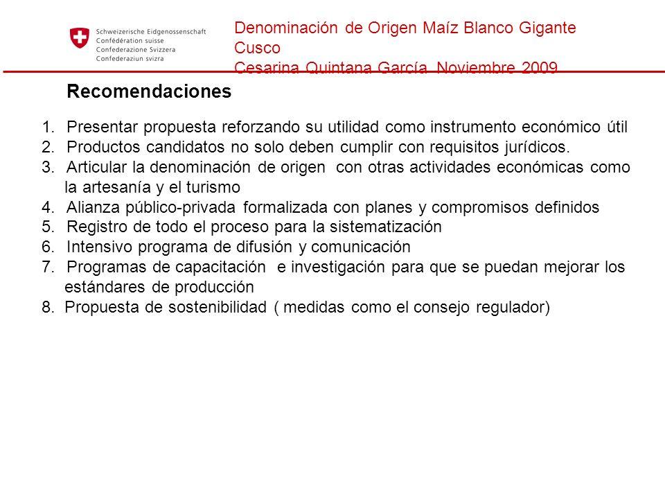 Recomendaciones Denominación de Origen Maíz Blanco Gigante Cusco