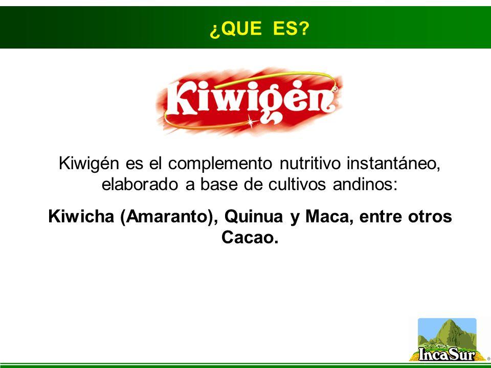 Kiwicha (Amaranto), Quinua y Maca, entre otros Cacao.