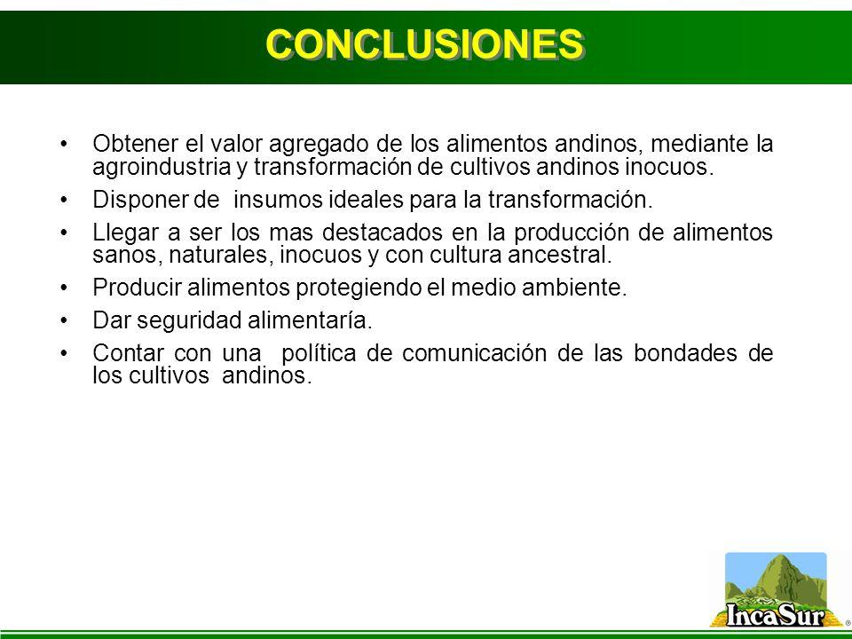 CONCLUSIONES Obtener el valor agregado de los alimentos andinos, mediante la agroindustria y transformación de cultivos andinos inocuos.