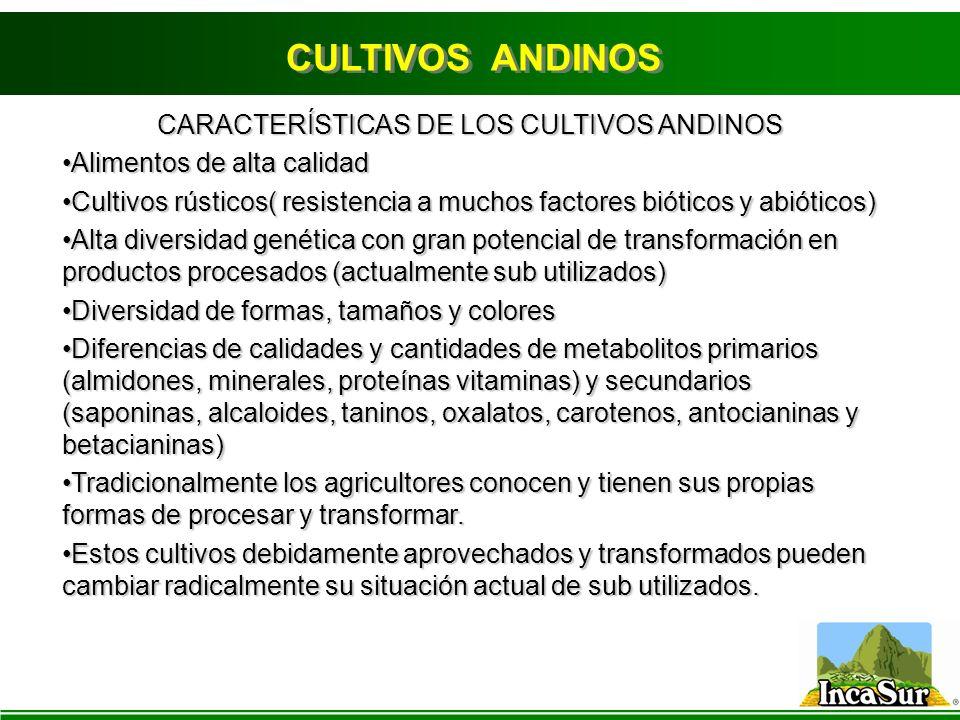 CARACTERÍSTICAS DE LOS CULTIVOS ANDINOS
