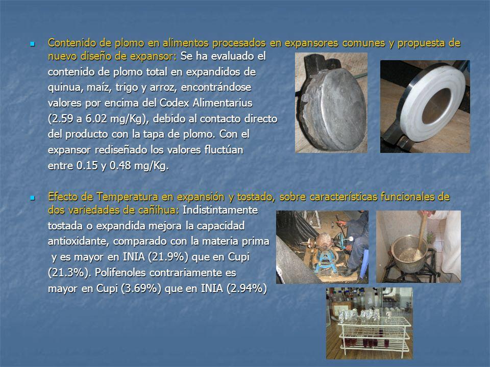 Contenido de plomo en alimentos procesados en expansores comunes y propuesta de nuevo diseño de expansor: Se ha evaluado el
