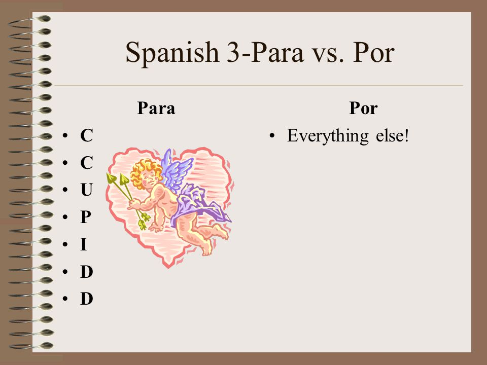 Spanish 3-Para vs. Por Para C U P I D Por Everything else!