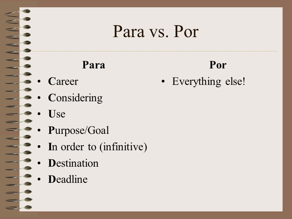 Para vs. Por Para Career Considering Use Purpose/Goal