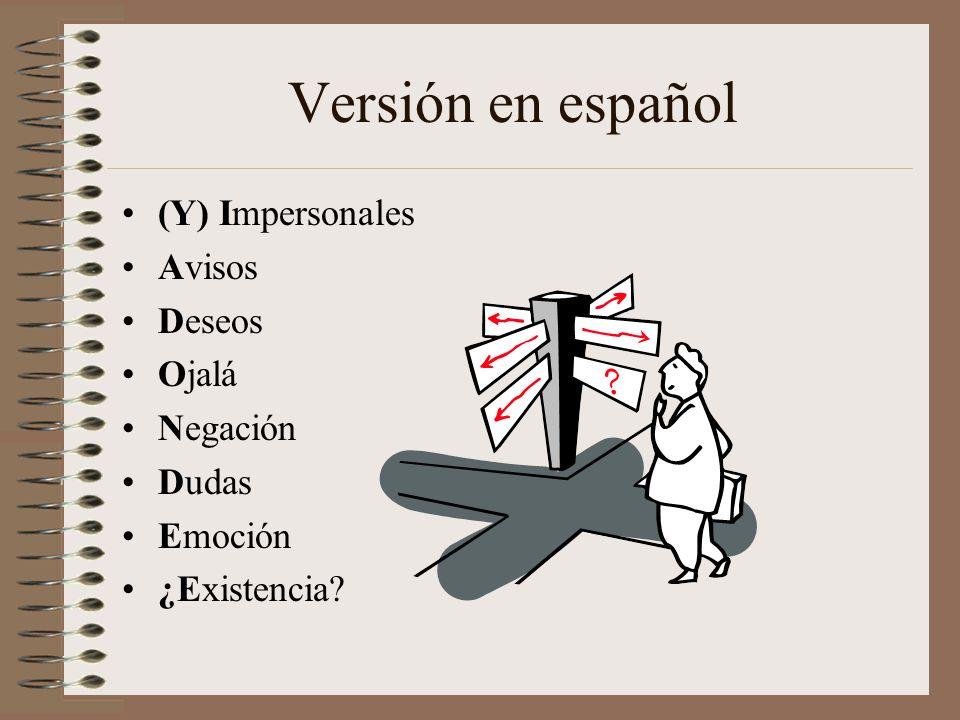 Versión en español (Y) Impersonales Avisos Deseos Ojalá Negación Dudas