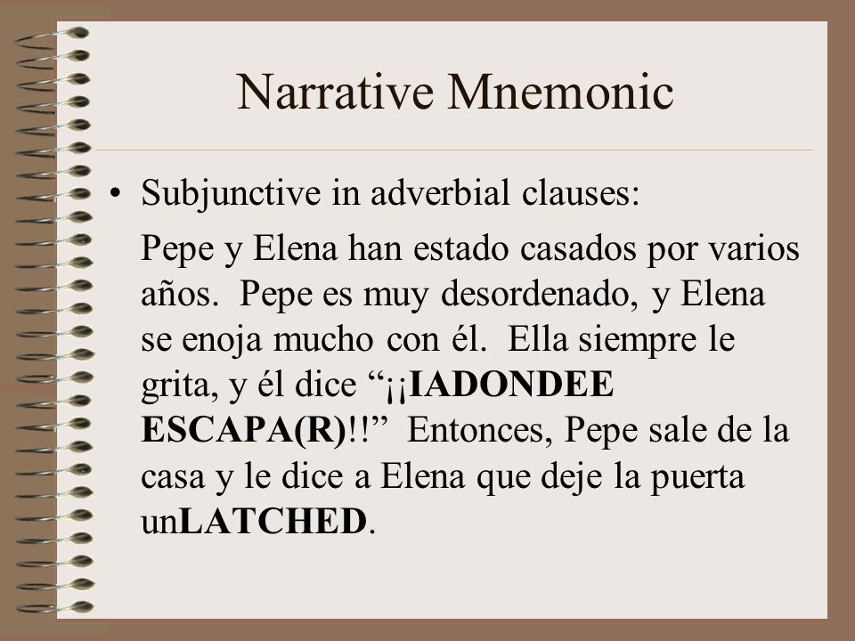 Narrative Mnemonic Subjunctive in adverbial clauses: