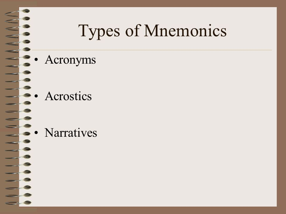 Types of Mnemonics Acronyms Acrostics Narratives