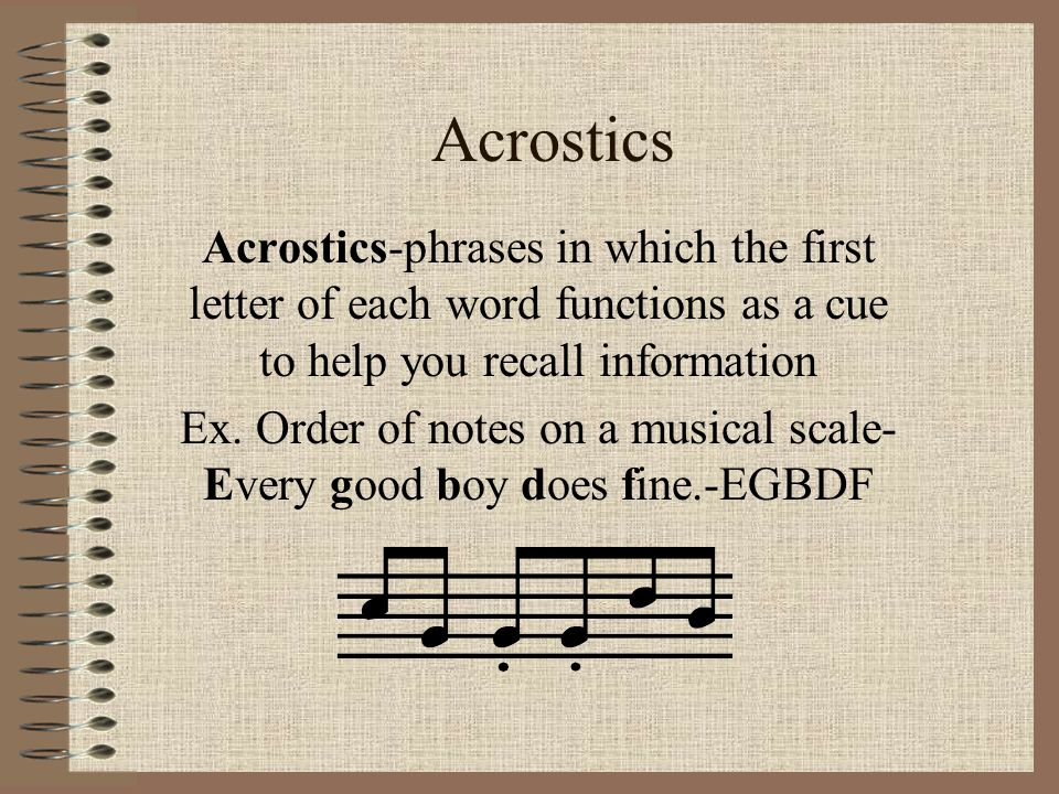 Ex. Order of notes on a musical scale-Every good boy does fine.-EGBDF
