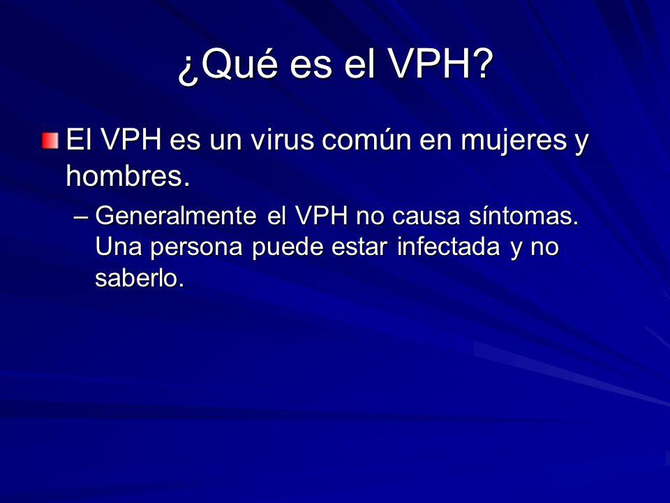 ¿Qué es el VPH El VPH es un virus común en mujeres y hombres.