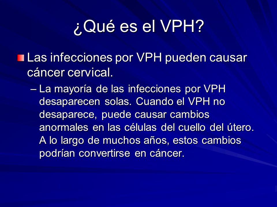¿Qué es el VPH Las infecciones por VPH pueden causar cáncer cervical.