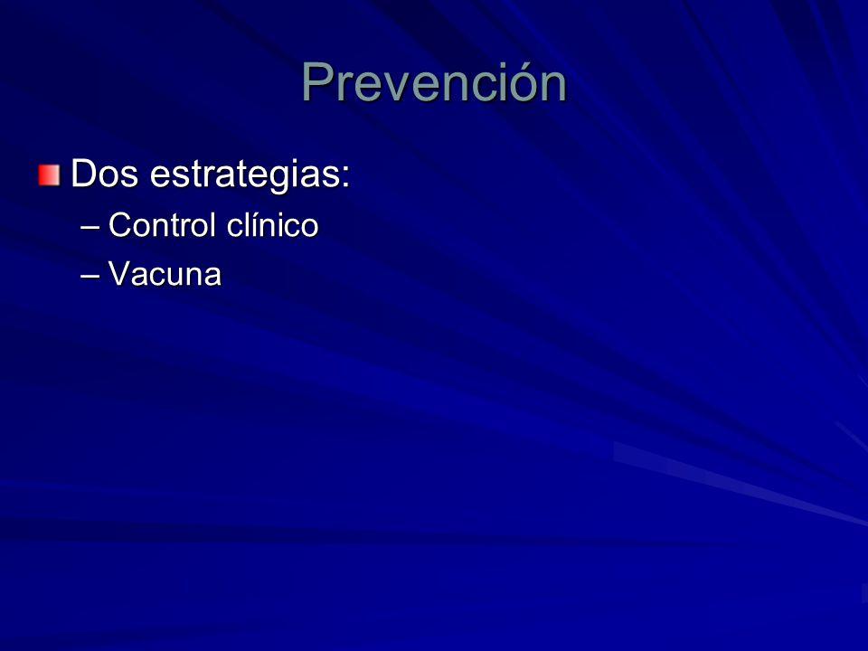 Prevención Dos estrategias: Control clínico Vacuna