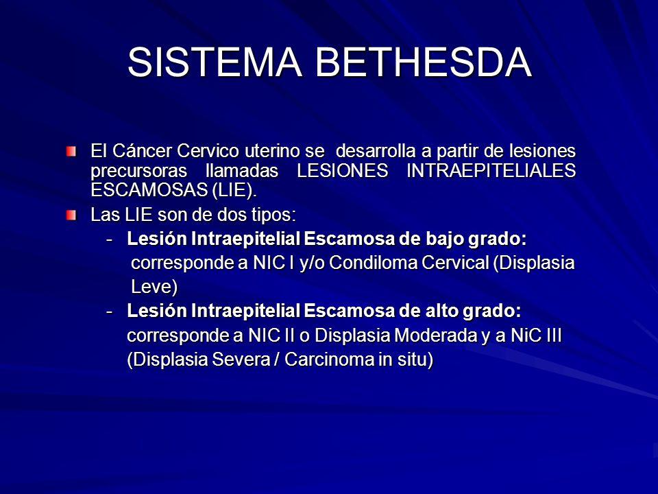 SISTEMA BETHESDA El Cáncer Cervico uterino se desarrolla a partir de lesiones precursoras llamadas LESIONES INTRAEPITELIALES ESCAMOSAS (LIE).