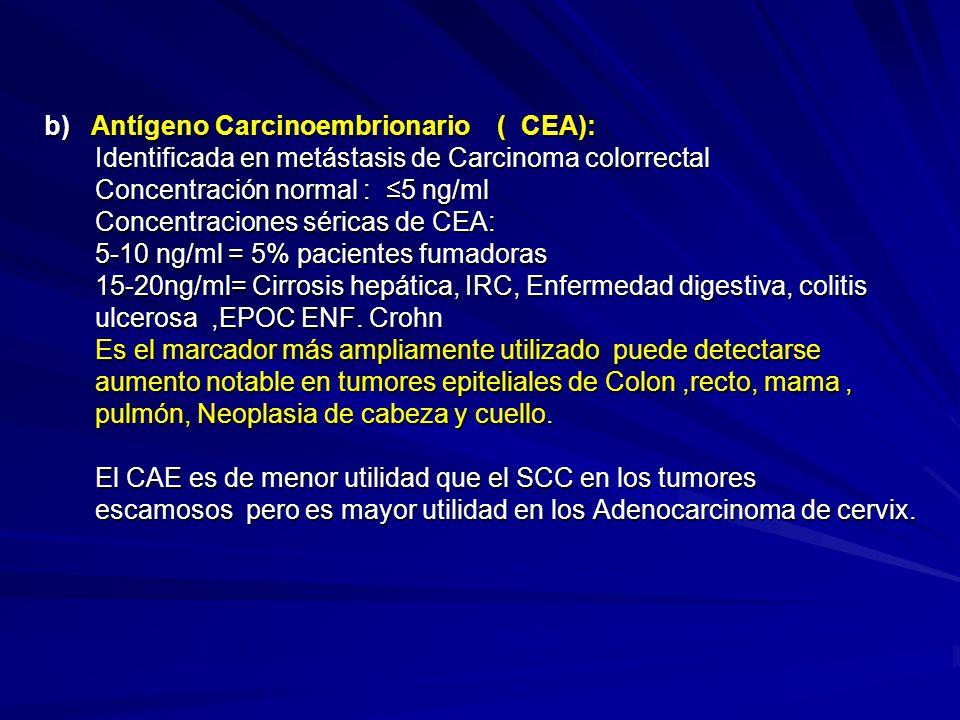 b) Antígeno Carcinoembrionario ( CEA):