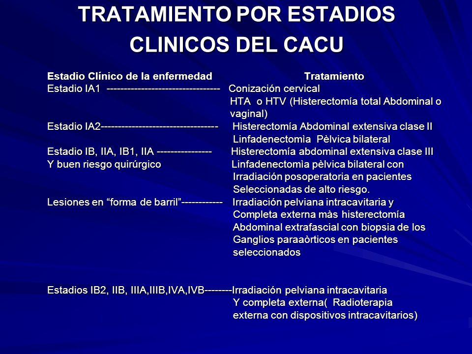 TRATAMIENTO POR ESTADIOS CLINICOS DEL CACU