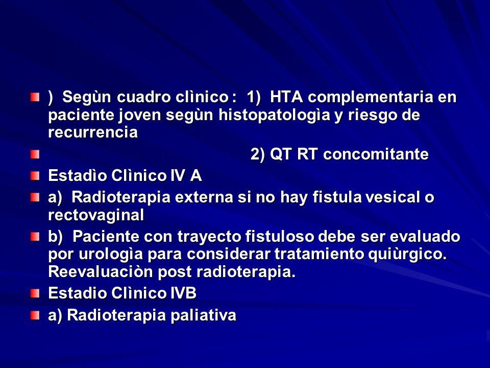 ) Segùn cuadro clìnico : 1) HTA complementaria en paciente joven segùn histopatologìa y riesgo de recurrencia