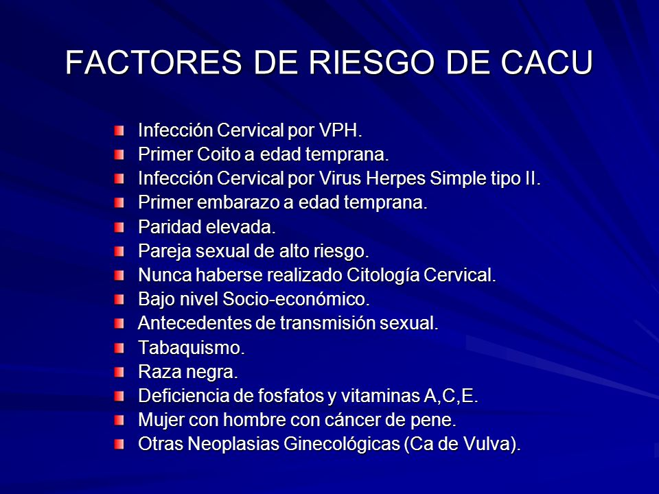 FACTORES DE RIESGO DE CACU