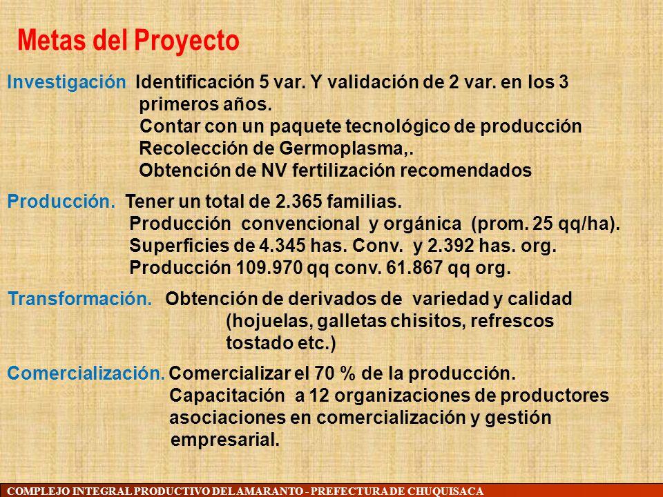 Metas del Proyecto Investigación. Identificación 5 var. Y validación de 2 var. en los 3. primeros años.