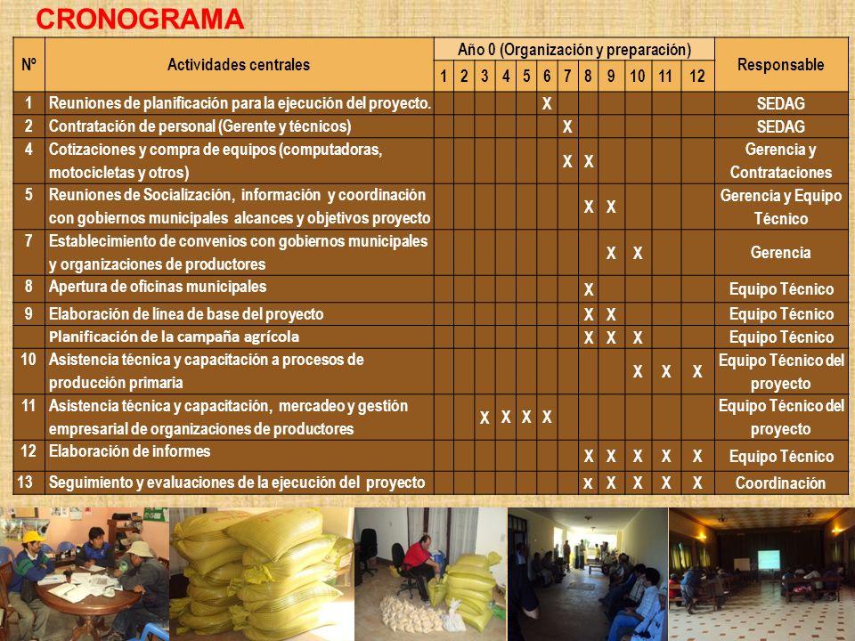 CRONOGRAMA Nº Actividades centrales Año 0 (Organización y preparación)