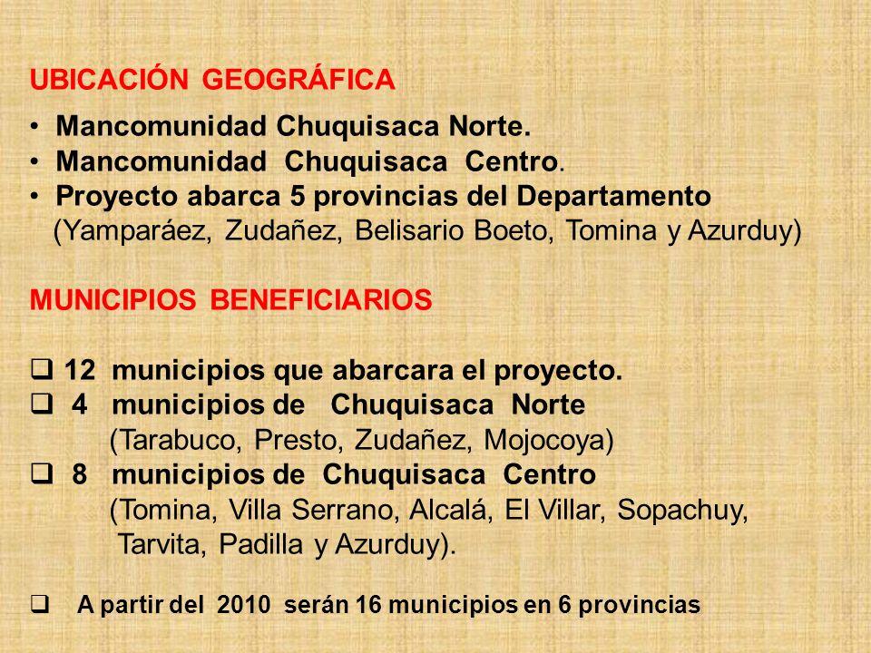 Mancomunidad Chuquisaca Norte. Mancomunidad Chuquisaca Centro.