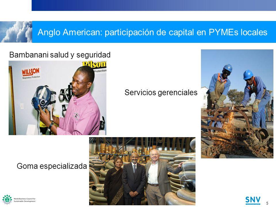 Anglo American: participación de capital en PYMEs locales