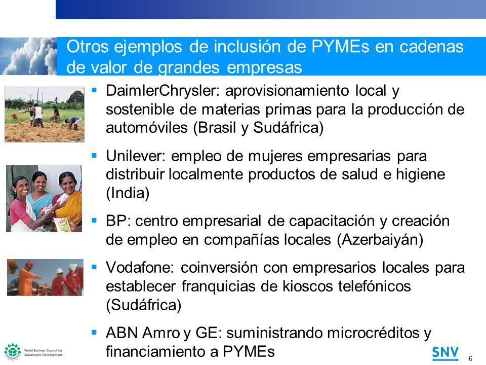 Otros ejemplos de inclusión de PYMEs en cadenas de valor de grandes empresas