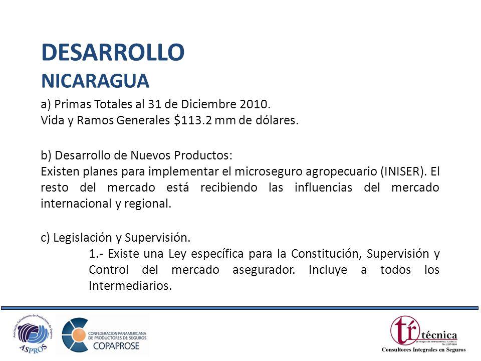 DESARROLLO NICARAGUA a) Primas Totales al 31 de Diciembre 2010.