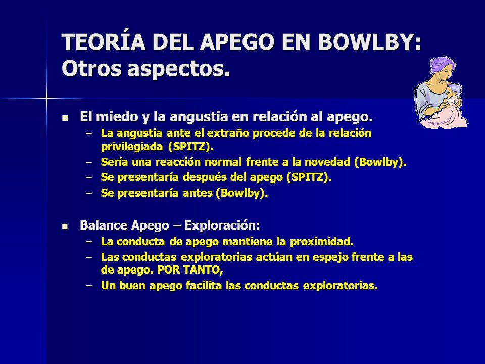 TEORÍA DEL APEGO EN BOWLBY: Otros aspectos.