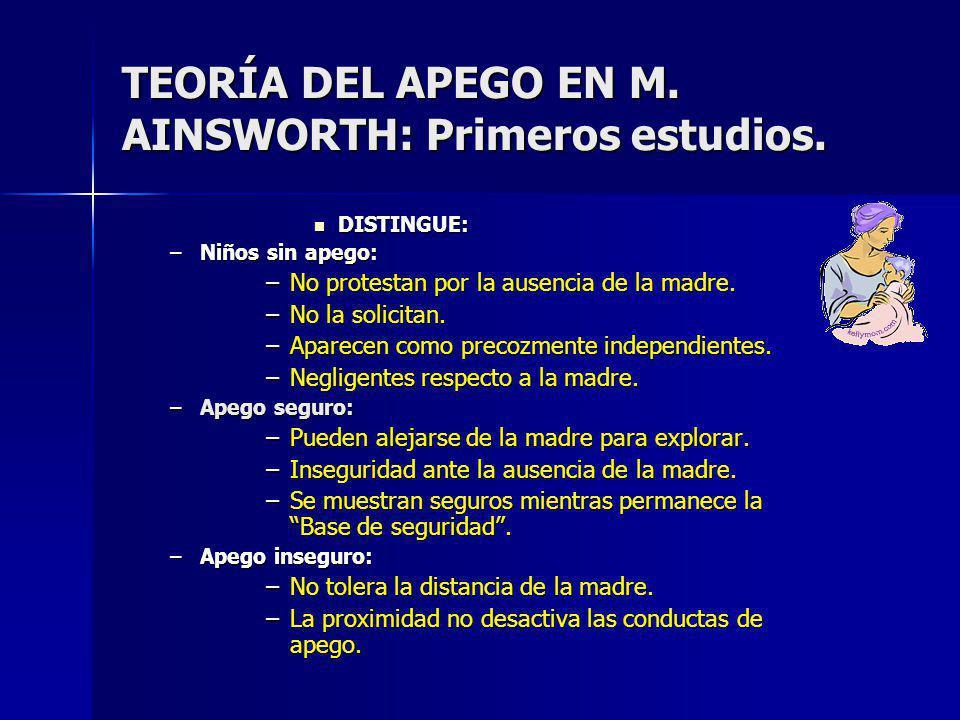 TEORÍA DEL APEGO EN M. AINSWORTH: Primeros estudios.