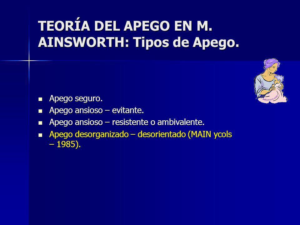 TEORÍA DEL APEGO EN M. AINSWORTH: Tipos de Apego.