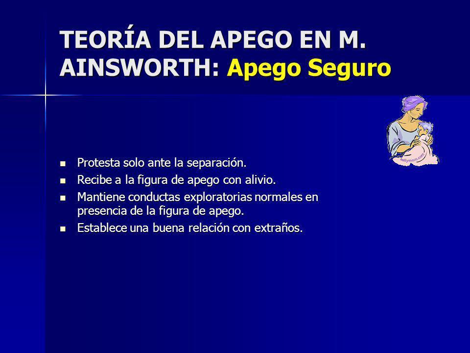 TEORÍA DEL APEGO EN M. AINSWORTH: Apego Seguro