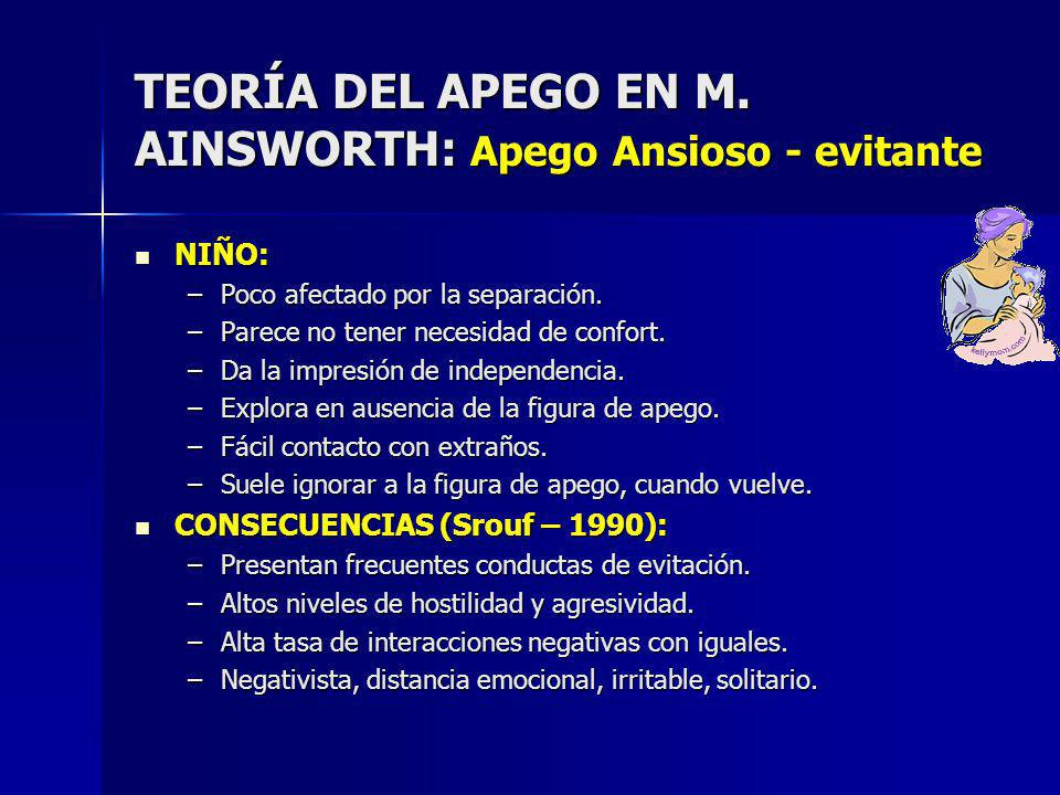 TEORÍA DEL APEGO EN M. AINSWORTH: Apego Ansioso - evitante