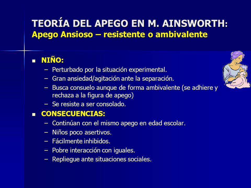 TEORÍA DEL APEGO EN M. AINSWORTH: Apego Ansioso – resistente o ambivalente
