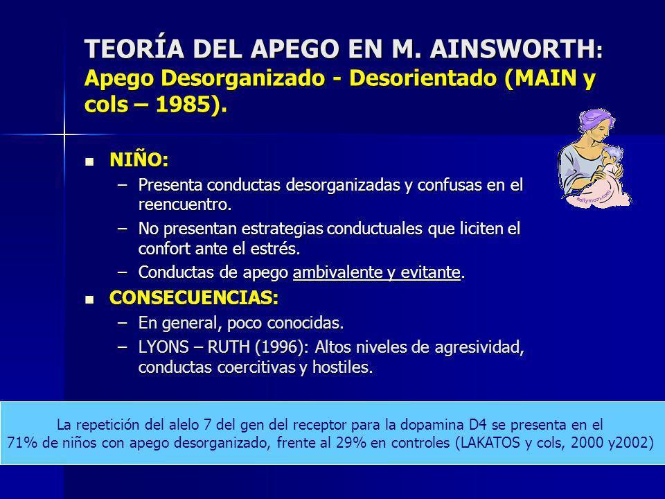 TEORÍA DEL APEGO EN M. AINSWORTH: Apego Desorganizado - Desorientado (MAIN y cols – 1985).