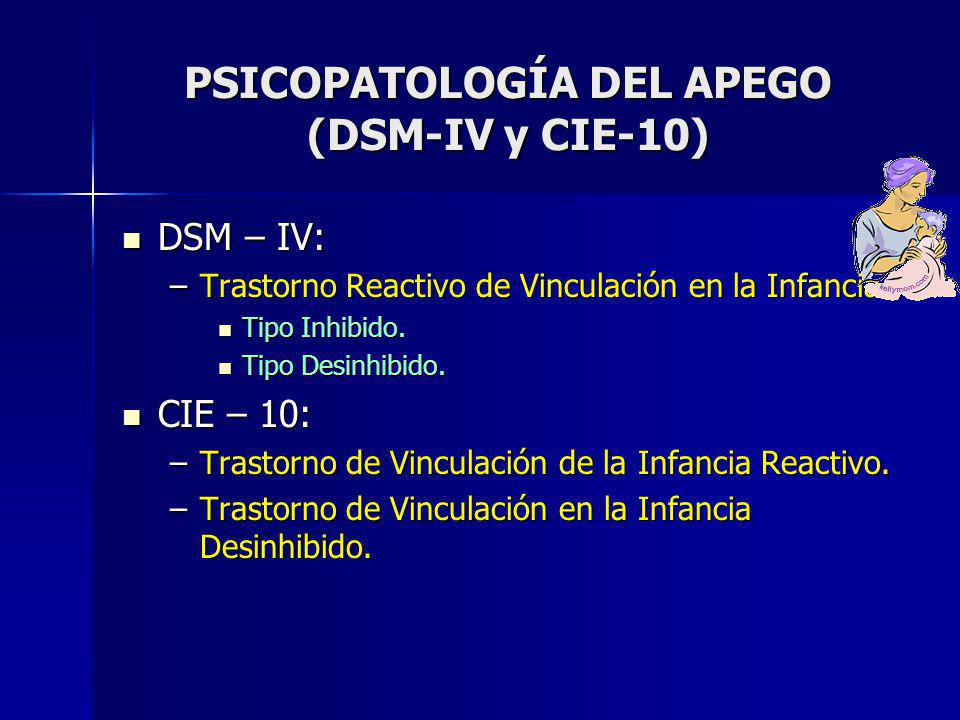 PSICOPATOLOGÍA DEL APEGO (DSM-IV y CIE-10)